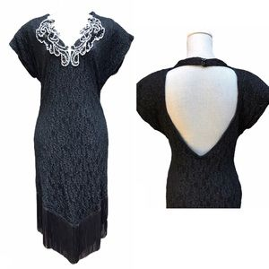 Vintage 80 Black Lace/Sequins/Pearls/Fringe Dress